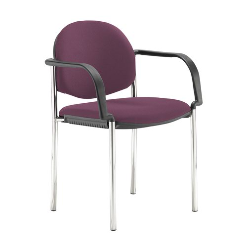 Coda multi purpose stackable conference chair with fixed arms - Bridgetown Purple