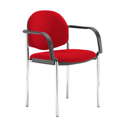 Coda multi purpose stackable conference chair with fixed arms - Belize Red