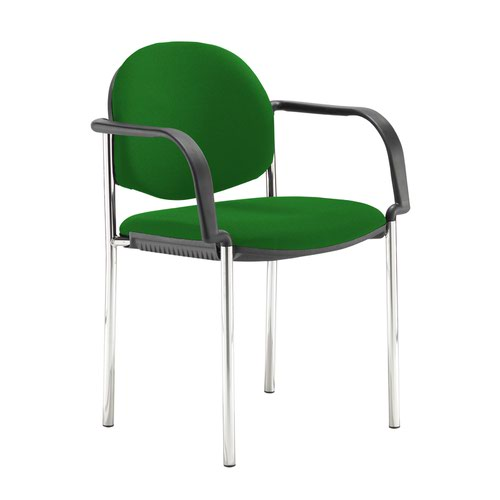 Coda multi purpose stackable conference chair with fixed arms - Lombok Green