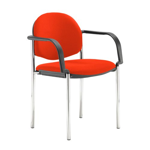Coda multi purpose stackable conference chair with fixed arms - Tortuga Orange