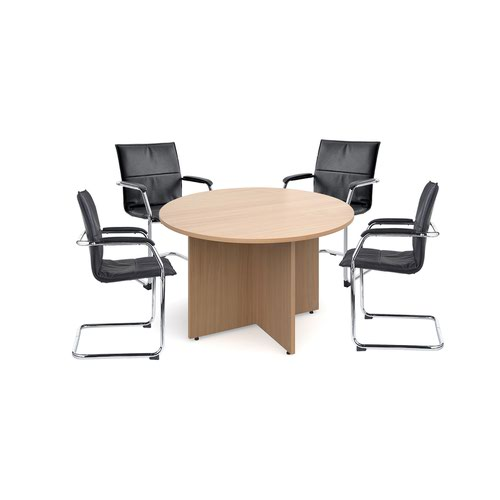 Bundle deal 4 x Essen visitors chairs with RT12 meeting table - grey oak