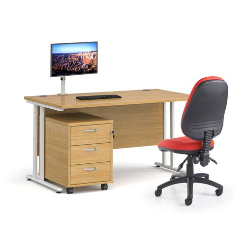 Bundle deal - Maestro 25 straight 1400mm desk in maple with white frame/ 3 drawer pedestal/ Luna white monitor arm and Vantage V100 chair in charcoal
