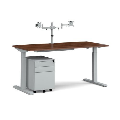 Elev8 Mono straight sit-stand desk 1600mm - silver frame and walnut top with matching double monitor arm and steel pedestal and cable tray