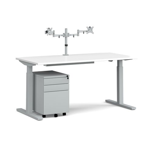 Elev8 Mono straight sit-stand desk 1600mm - silver frame and white top with matching double monitor arm and steel pedestal and cable tray