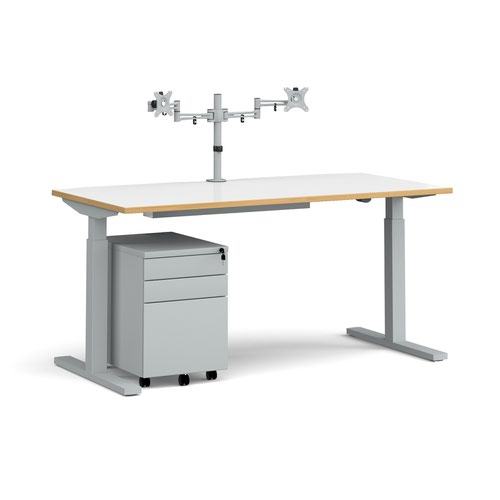 Elev8 Mono straight sit-stand desk 1600mm - silver frame/white top with oak edge with matching double monitor arm plus steel pedestal and cable tray