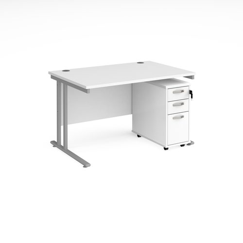 Maestro 25 straight desk 1200mm x 800mm with silver cantilever leg frame and tall slimline 3 drawer mobile pedestal - white