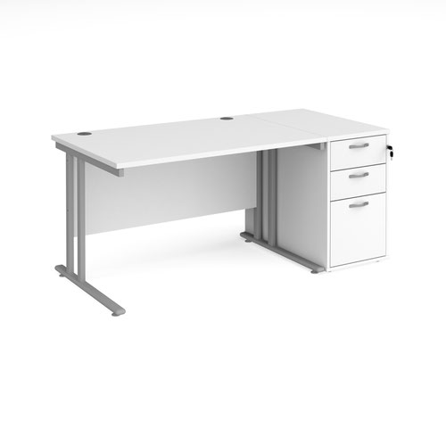 Maestro 25 straight desk 1200mm x 800mm with silver cantilever leg frame and desk end pedestal - white