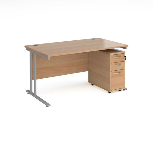 Maestro 25 straight desk 1400mm x 800mm with silver cantilever leg frame and tall slimline 3 drawer mobile pedestal - beech