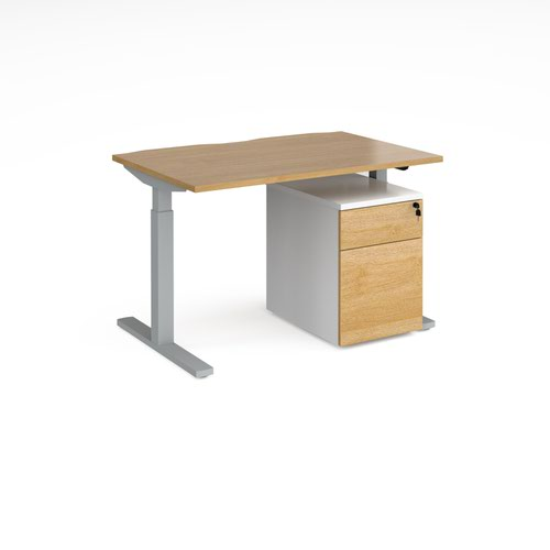 Elev8 Mono straight sit-stand desk 1200mm x 800mm with silver frame and beech top with Duo mobile pedestal - white/beech