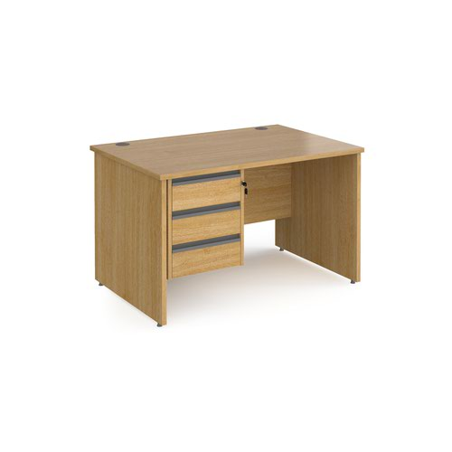 Contract 25 straight desk with 3 drawer graphite pedestal and panel leg 1200mm x 800mm - oak