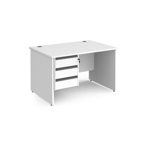 Contract 25 straight desk with 3 drawer graphite pedestal and panel leg 1200mm x 800mm - white