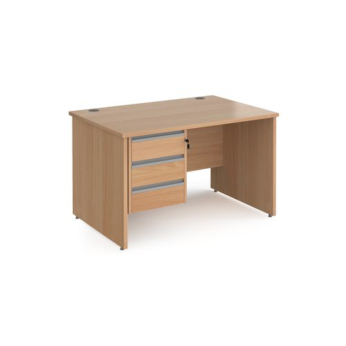 Contract 25 straight desk with 3 drawer silver pedestal and panel leg 1200mm x 800mm - beech