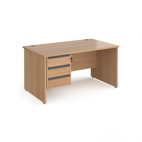 Contract 25 straight desk with 3 drawer graphite pedestal and panel leg 1400mm x 800mm - beech