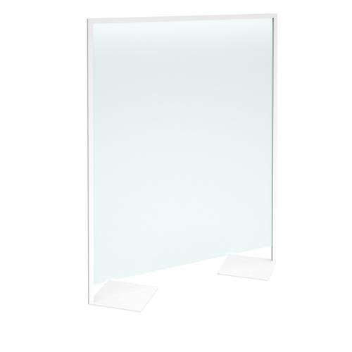 Floor standing clear polyvinyl screen 2000mm high x 1600mm wide