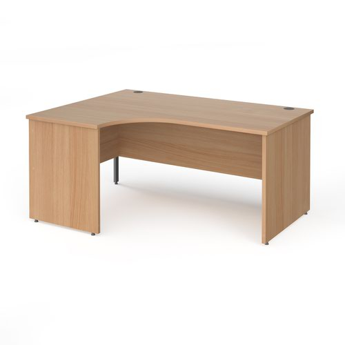 Contract 25 left hand ergonomic desk with panel ends and graphite corner leg 1600mm - beech
