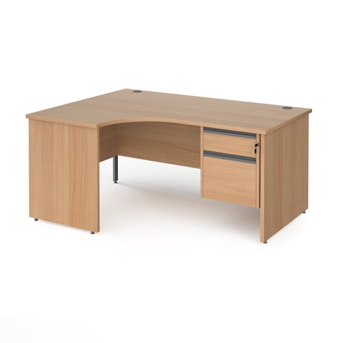 Contract 25 left hand ergonomic desk with 2 drawer graphite pedestal and panel leg 1600mm - beech
