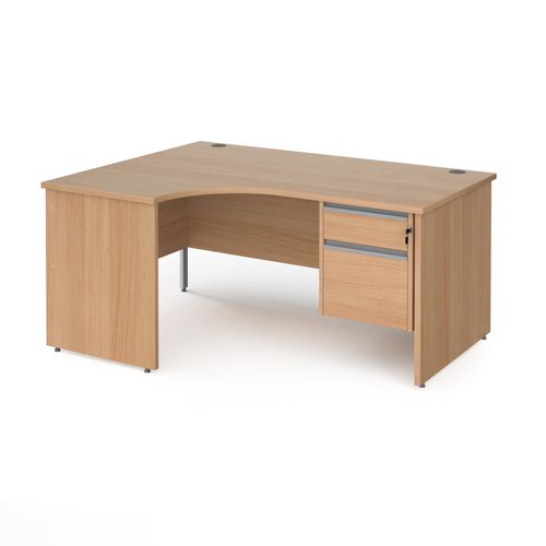 Contract 25 panel leg LH ergonomic desk with 2 drawer ped