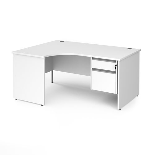 Contract 25 left hand ergonomic desk with 2 drawer silver pedestal and panel leg 1600mm - white