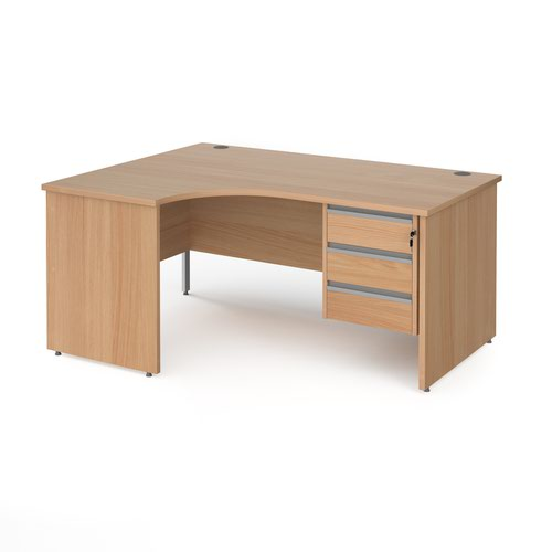 Contract 25 panel leg LH ergonomic desk with 3 drawer ped