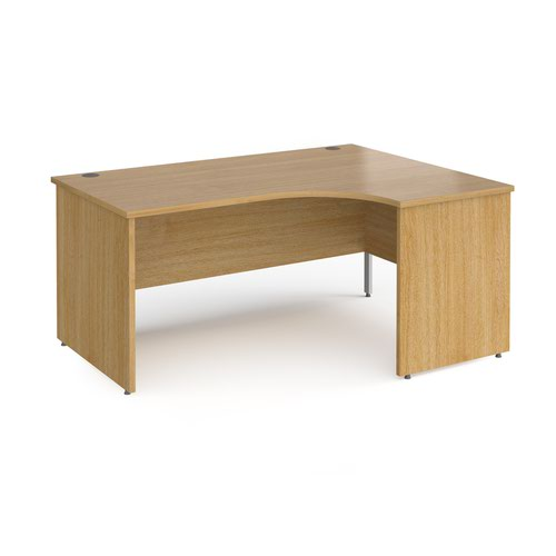 Contract 25 right hand ergonomic desk with panel ends and silver corner leg 1600mm - oak