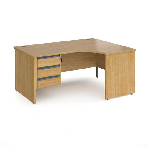 Contract 25 right hand ergonomic desk with 3 drawer graphite pedestal and panel leg 1600mm - oak