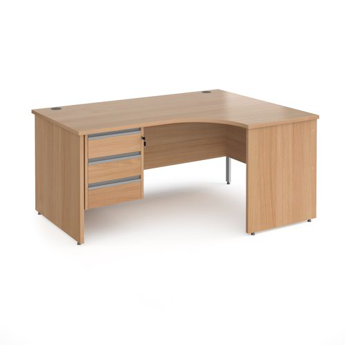 Contract 25 panel leg RH ergonomic desk with 3 drawer ped