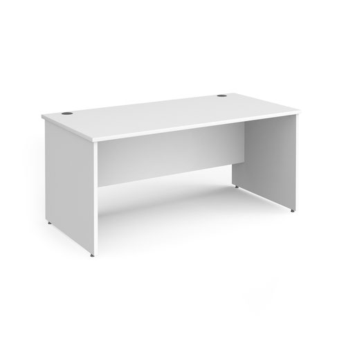 Contract 25 straight desk with panel leg 1600mm x 800mm - white