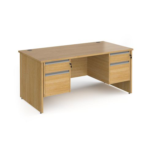 Contract 25 straight desk with 2 and 2 drawer silver pedestals and panel leg 1600mm x 800mm - oak