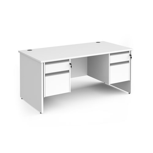 Contract 25 straight desk with 2 and 2 drawer silver pedestals and panel leg 1600mm x 800mm - white