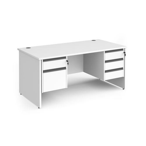 Contract 25 straight desk with 2 and 3 drawer graphite pedestals and panel leg 1600mm x 800mm - white
