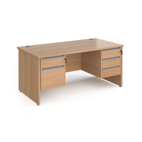 Contract 25 straight desk with 2 and 3 drawer silver pedestals and panel leg 1600mm x 800mm - beech