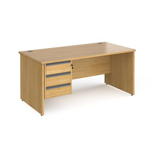 Contract 25 straight desk with 3 drawer graphite pedestal and panel leg 1600mm x 800mm - oak