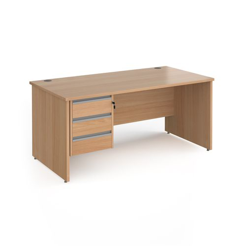 Contract 25 panel leg straight desk with 3 drawer pedestal