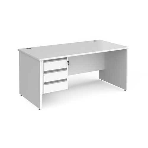 Contract 25 straight desk with 3 drawer silver pedestal and panel leg 1600mm x 800mm - white