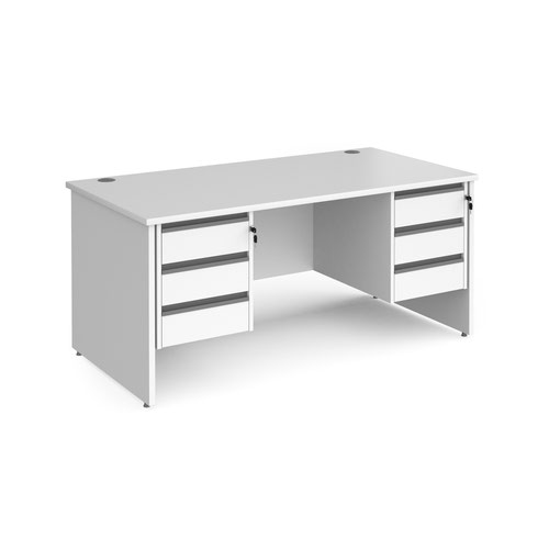 Contract 25 straight desk with 3 and 3 drawer graphite pedestals and panel leg 1600mm x 800mm - white