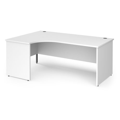 Contract 25 left hand ergonomic desk with panel ends and graphite corner leg 1800mm - white