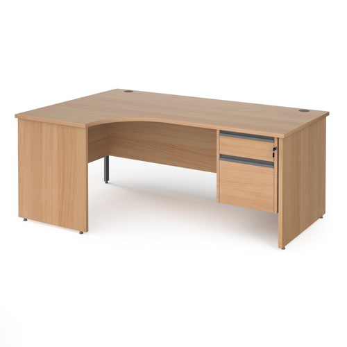 Contract 25 left hand ergonomic desk with 2 drawer graphite pedestal and panel leg 1800mm - beech