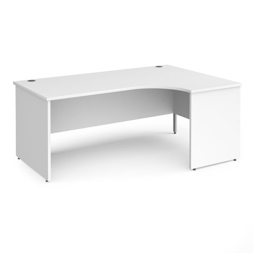 Contract 25 right hand ergonomic desk with panel ends and silver corner leg 1800mm - white