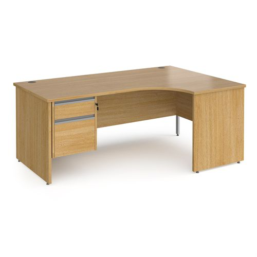 Contract 25 right hand ergonomic desk with 2 drawer silver pedestal and panel leg 1800mm - oak