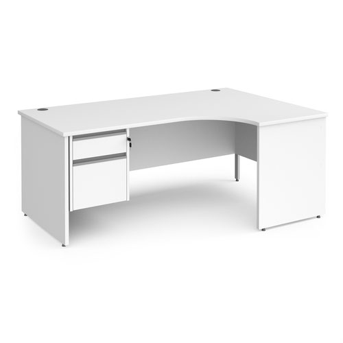 Contract 25 right hand ergonomic desk with 2 drawer silver pedestal and panel leg 1800mm - white