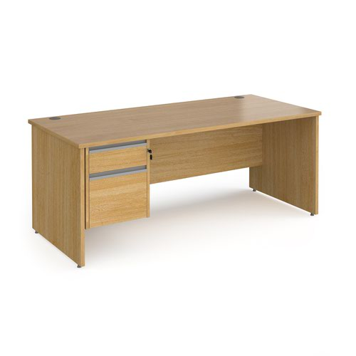 Contract 25 straight desk with 2 drawer silver pedestal and panel leg 1800mm x 800mm - oak