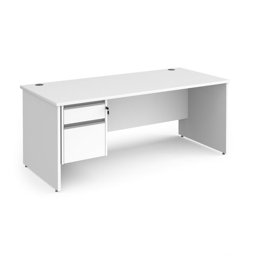 Contract 25 straight desk with 2 drawer silver pedestal and panel leg 1800mm x 800mm - white