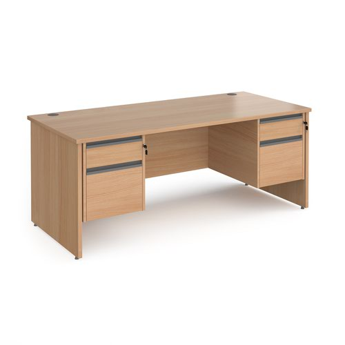 Contract 25 straight desk with 2 and 2 drawer graphite pedestals and panel leg 1800mm x 800mm - beech