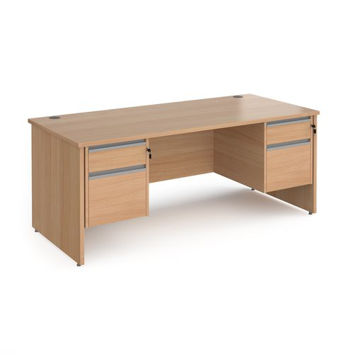 Contract 25 straight desk with 2 and 2 drawer silver pedestals and panel leg 1800mm x 800mm - beech