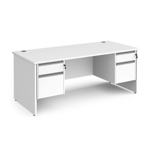 Contract 25 straight desk with 2 and 2 drawer silver pedestals and panel leg 1800mm x 800mm - white