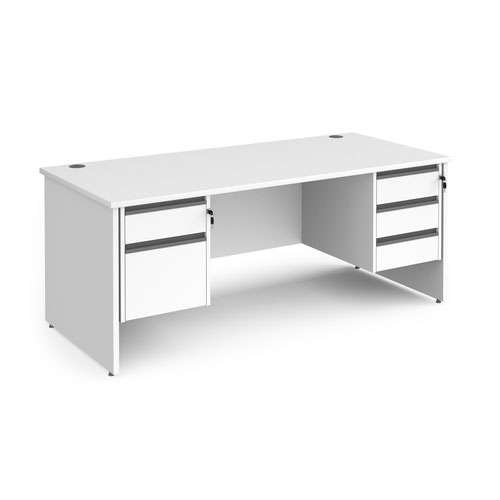 Contract 25 straight desk with 2 and 3 drawer graphite pedestals and panel leg 1800mm x 800mm - white