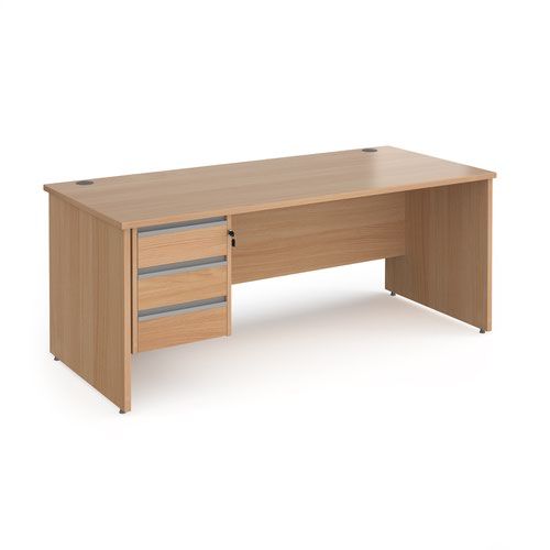 Contract 25 straight desk with 3 drawer silver pedestal and panel leg 1800mm x 800mm - beech