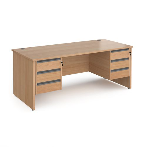 Contract 25 straight desk with 3 and 3 drawer graphite pedestals and panel leg 1800mm x 800mm - beech
