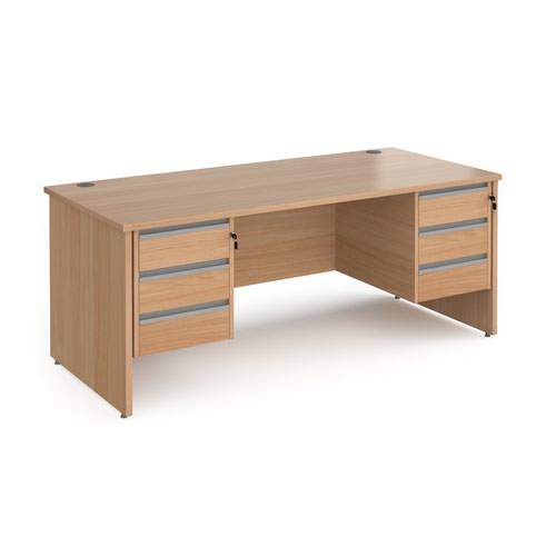 Contract 25 straight desk with 3 and 3 drawer silver pedestals and panel leg 1800mm x 800mm - beech
