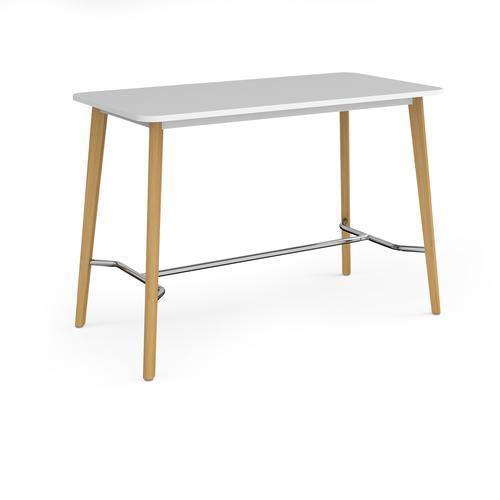 Como rectangular poseur table with 4 oak legs 1800mm x 800mm - white